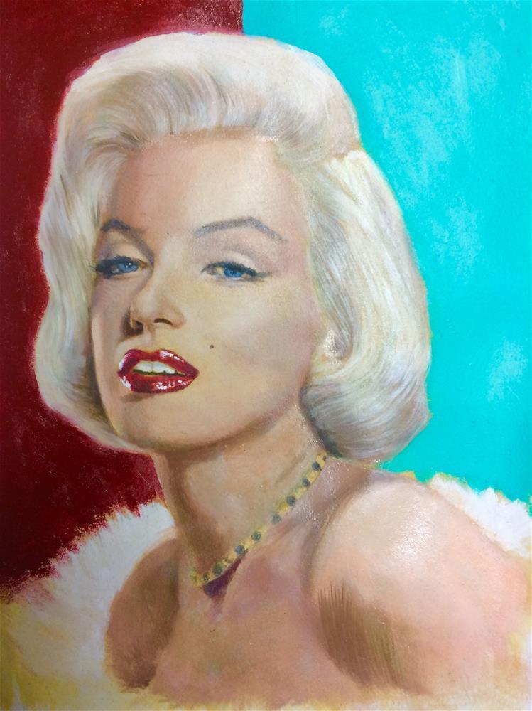"""""""Marilyn Monroe painting- work in progress"""" original fine art by Paulo Jimenez"""