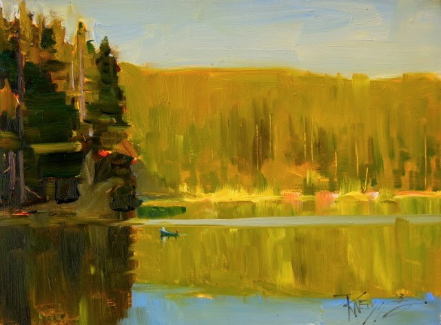 """Mountain Lake Evening  6x8 plein air, oil on panel by Robin Weiss"" original fine art by Robin Weiss"