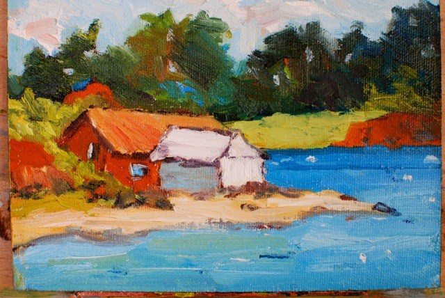 """Boathouse Lake Grapevine"" original fine art by Liz Zornes"