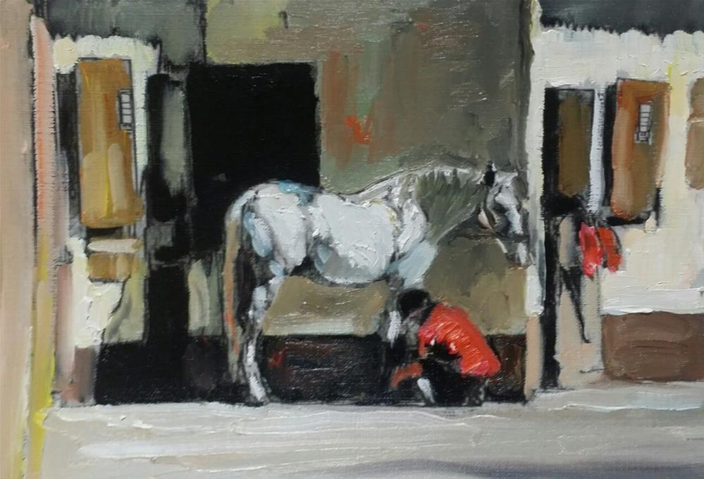 """""""Taking Care of the Horse (Oil on canvas sheet  10 x 7 - no frame)"""" original fine art by Ramon DelRosario"""