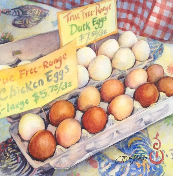 """Good Eggs"" original fine art by Catherine M. James"