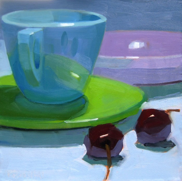 """""""Blue Cup, Purple Bowl and Cherries"""" original fine art by Robin Rosenthal"""
