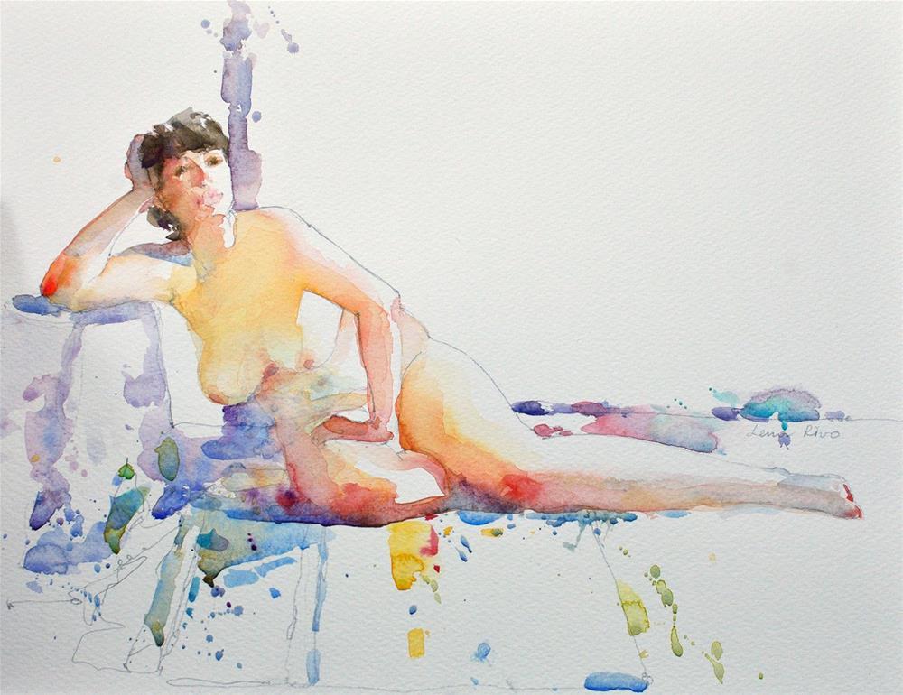 """Lying Figure - 2"" original fine art by Lena  Rivo"
