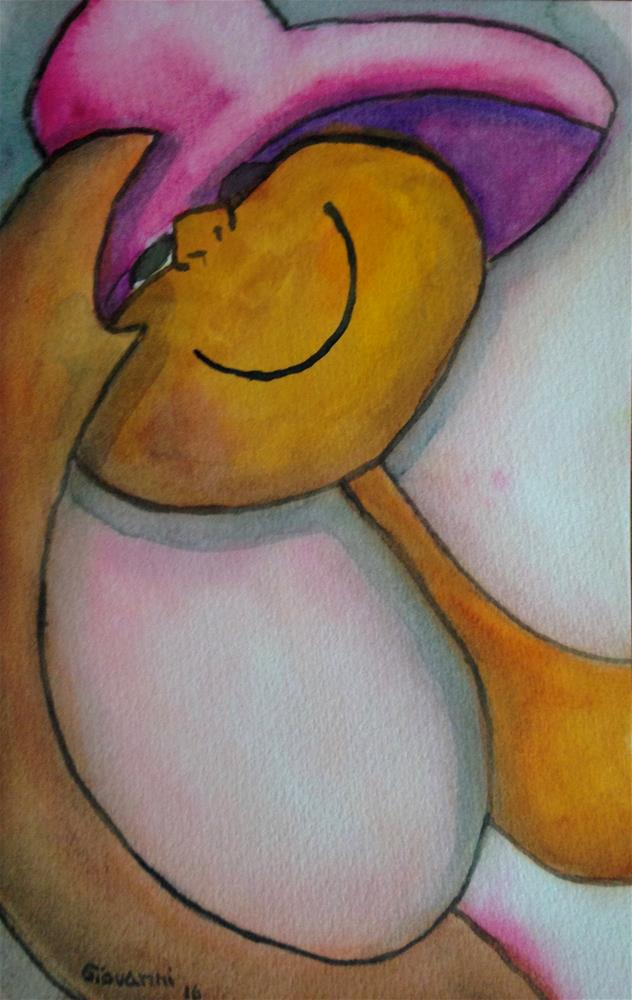 """I love my new hat"" original fine art by Giovanni Antunez"