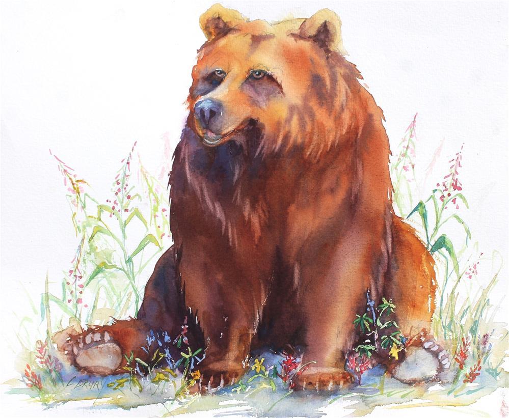 """""""BearlyGetting By"""" original fine art by Colleen Drury"""
