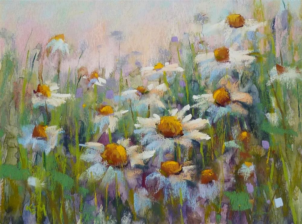"""How to Paint Daisies in Pastel Using a Watercolor Underpainting"" original fine art by Karen Margulis"