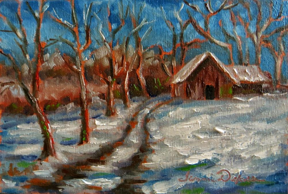 """Winter Path to the Barn"" original fine art by Tammie Dickerson"