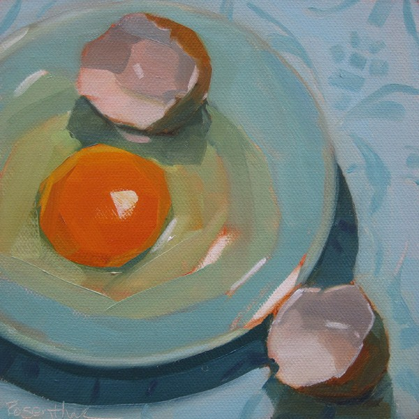 """""""Egg on Blue Plate"""" original fine art by Robin Rosenthal"""