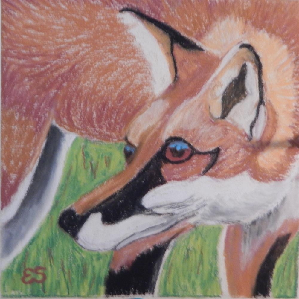 """Wild Cherry-eating Fox"" original fine art by Elaine Shortall"