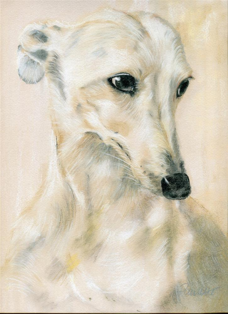 """Greyhound Ghost"" original fine art by Paulette Farrell"