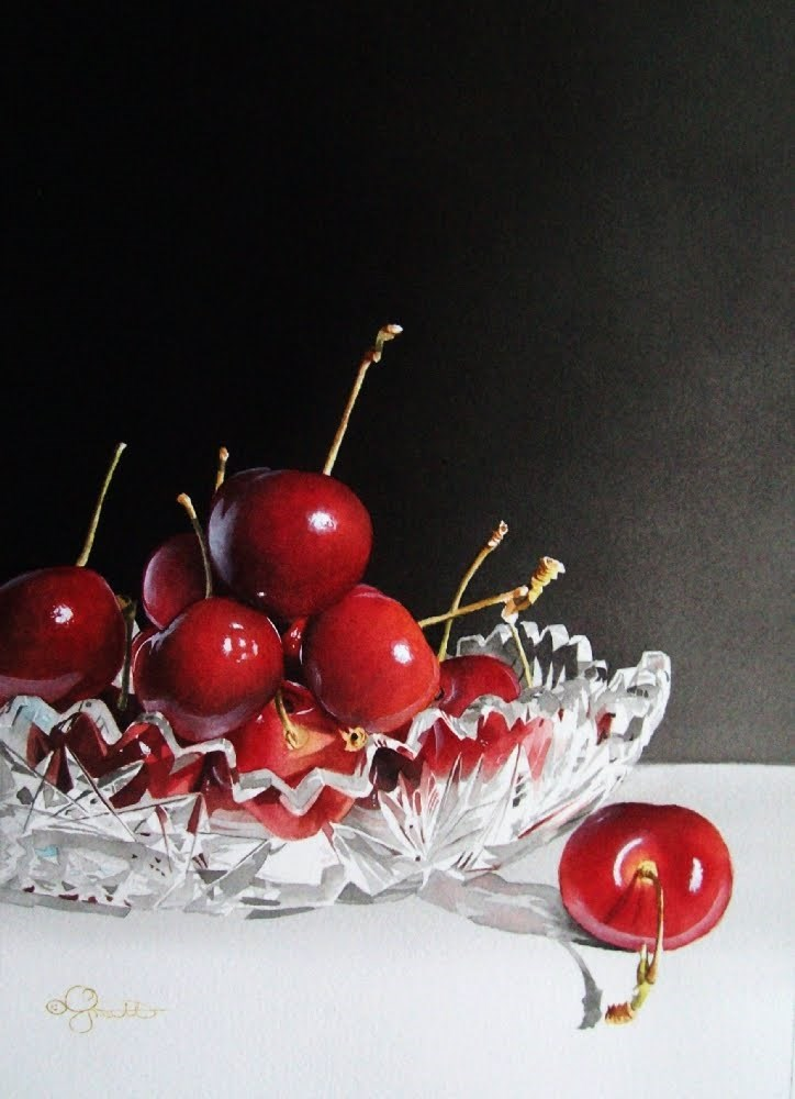 """Cherries & Crystal"" original fine art by Jacqueline Gnott, whs"