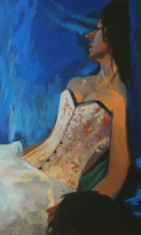 """White corset"" original fine art by Peter Orrock"