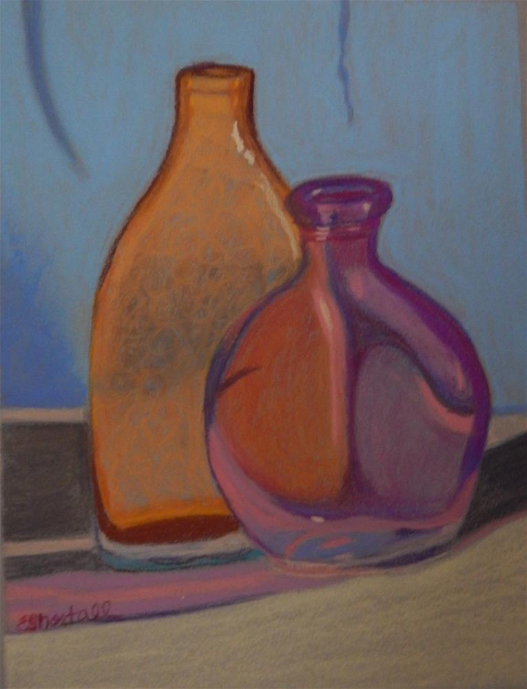 """Still Life with Colored Glass Bottles"" original fine art by Elaine Shortall"