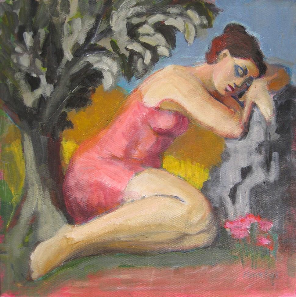 """""""Asleep Outdoors, reclining female, sleeping girl, contemporary figure painter, woman art, classic ar"""" original fine art by Marie Fox"""