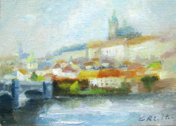 """Mala Strana Across the River"" original fine art by Keiko Richter"