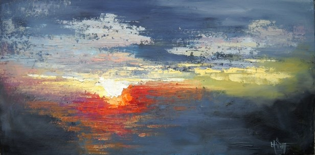 """Daily Painting, Abstract Landscape, Lighting the Heavens by Carol Schiff, 12x24x.75 Oil"" original fine art by Carol Schiff"