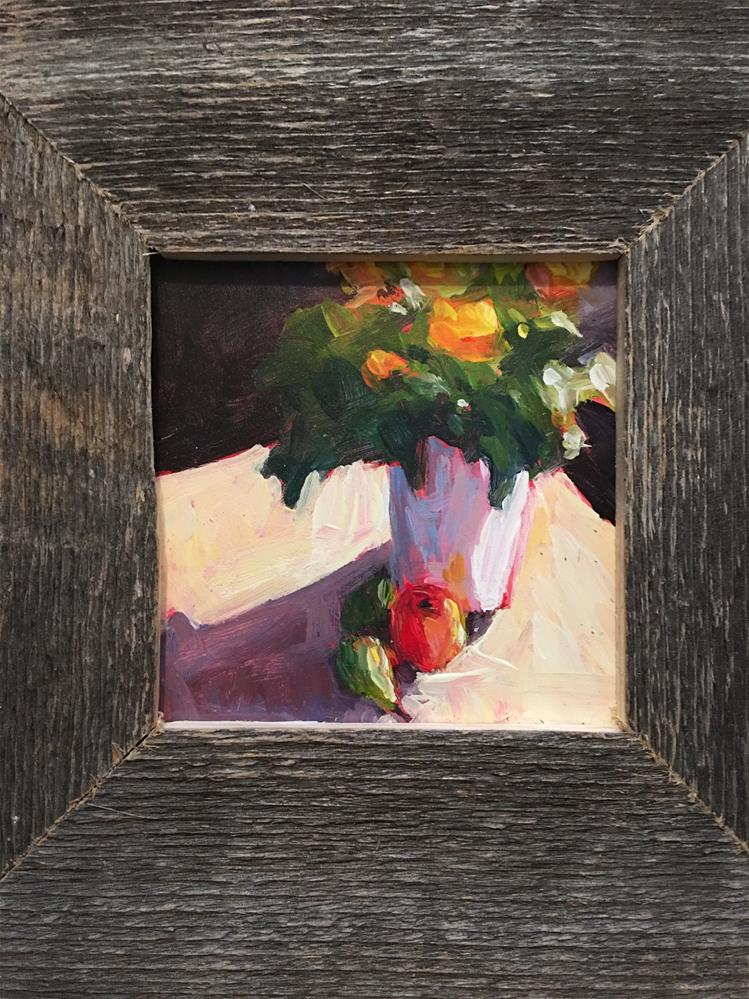 """Potted Flowers with pear"" original fine art by Shelley Garries"