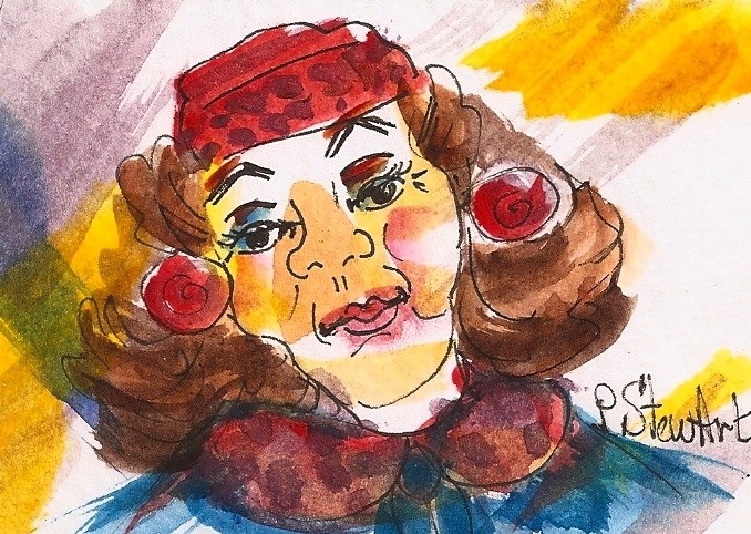 """ACEO 50's Glamour Puss Woman wearing pill box hat and faux fur, big hair"" original fine art by Penny Lee StewArt"