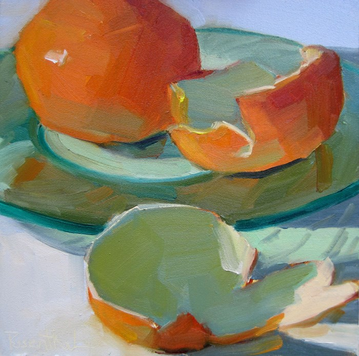 """Mandarin Orange on Green Glass Plate"" original fine art by Robin Rosenthal"