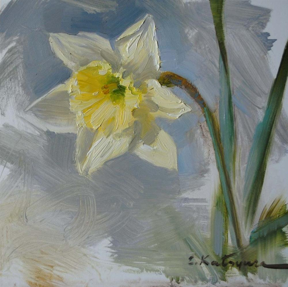 """Daffodil Sketch"" original fine art by Elena Katsyura"
