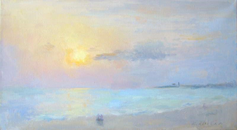 """Herring Cove Beach, Sunset"" original fine art by Keiko Richter"