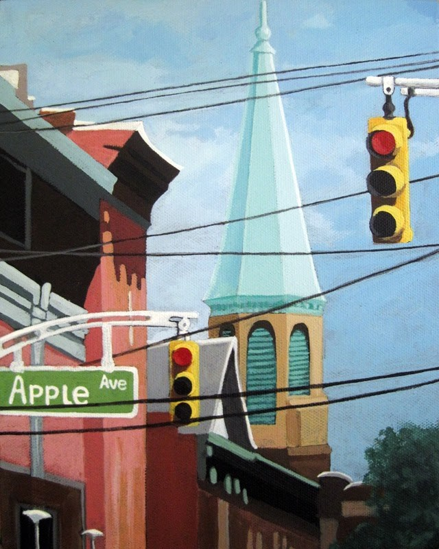 """City Power architecture high wires city tower"" original fine art by Linda Apple"