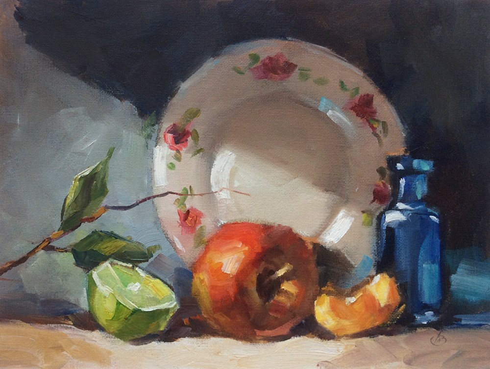"""AN APPLE A DAY"" original fine art by Tom Brown"