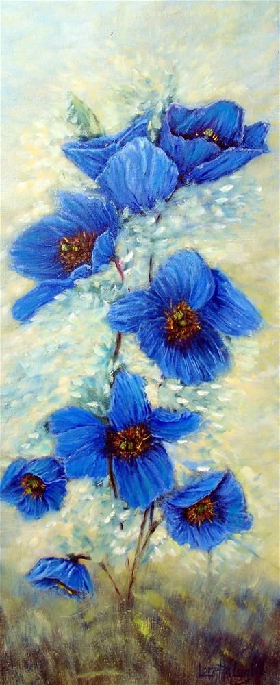 """Blue Poppies"" original fine art by Loretta Luglio"