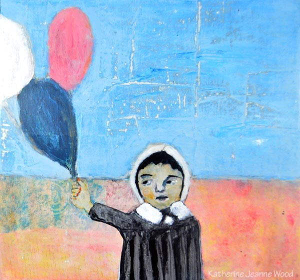 """3 Balloons"" original fine art by Katie Jeanne Wood"
