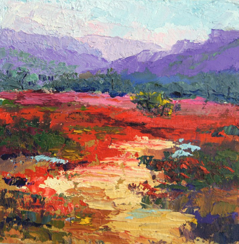 """""""Provence Poppies Miniature painting"""" original fine art by Marion Hedger"""