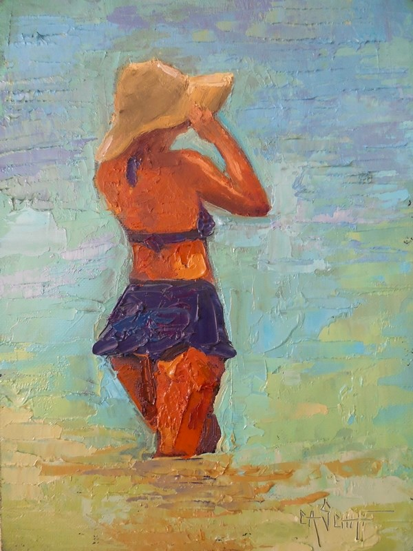 """Figurative Painting, Daily Painting, Small Oil Painting, Into The Blue by Carol Schiff, 8x6 Oil,"" original fine art by Carol Schiff"