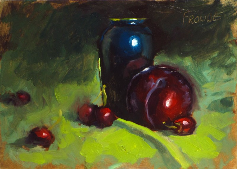 """Plum and Vase"" original fine art by Dave Froude"