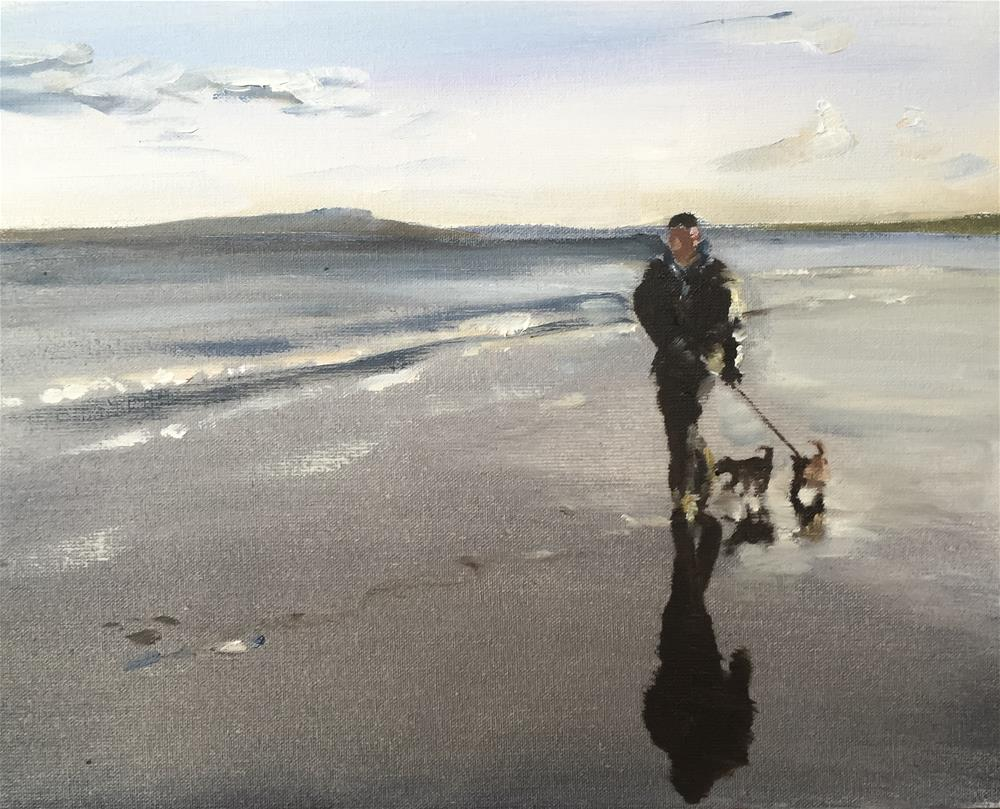 """Dog Walk Beach"" original fine art by James Coates"