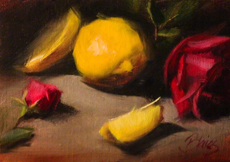 """Lemons and Knockout Roses"" original fine art by Pamela Blaies"