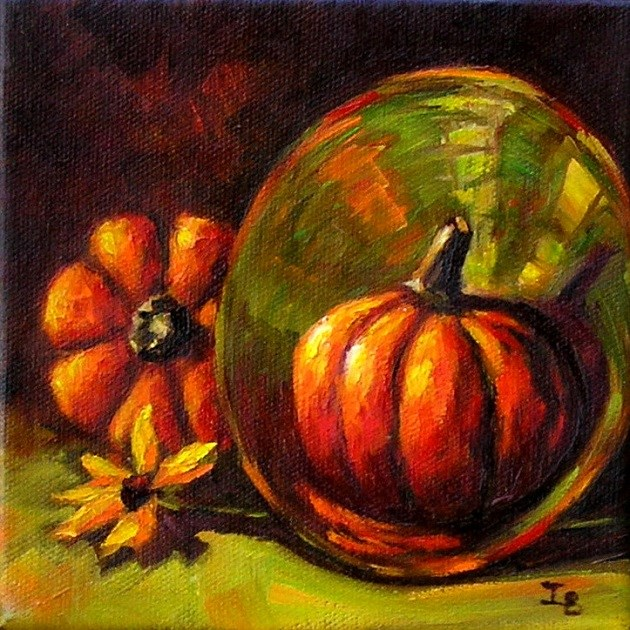 """Two Pumpkins"" original fine art by Irina Beskina"