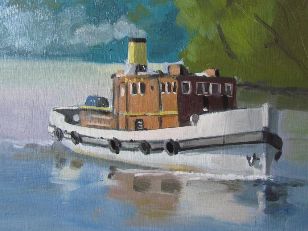 """steam boat"" original fine art by gilles Poulizac"