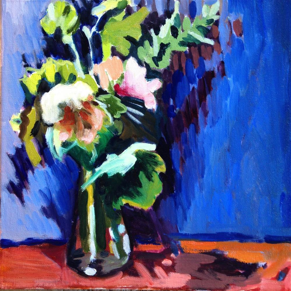 """Waiting For Hollyhocks"" original fine art by Pamela Hoffmeister"