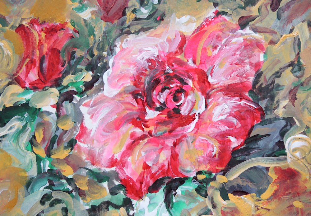 """Rose Maze"" original fine art by Mary Schiros"