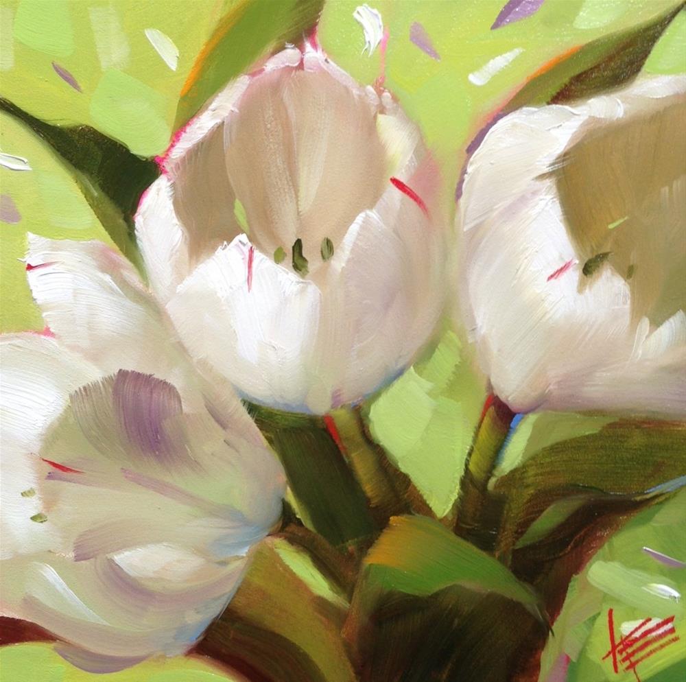 """""""White on Lime"""" original fine art by Krista Eaton"""