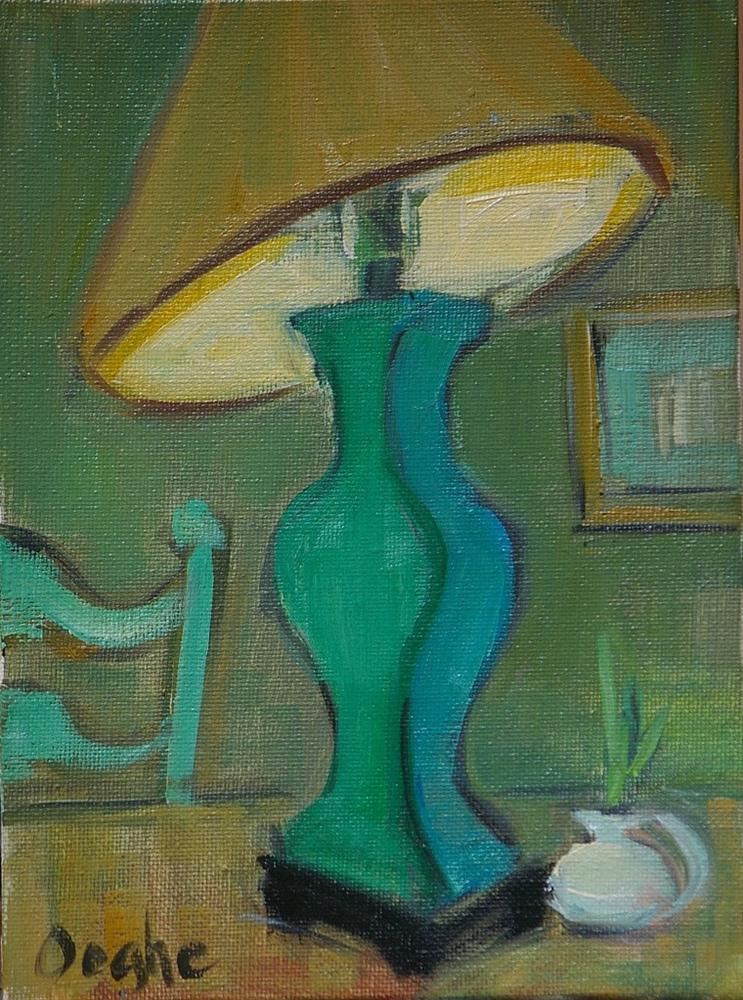 """Still Life with Green Lamp"" original fine art by Angela Ooghe"