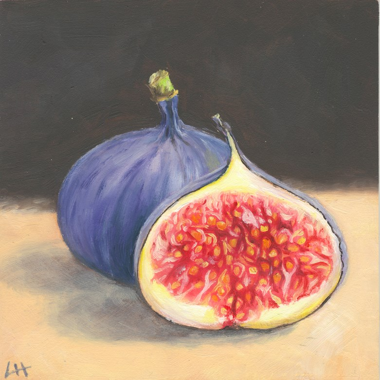 """Figs on table"" original fine art by Hui (Hue) Li"