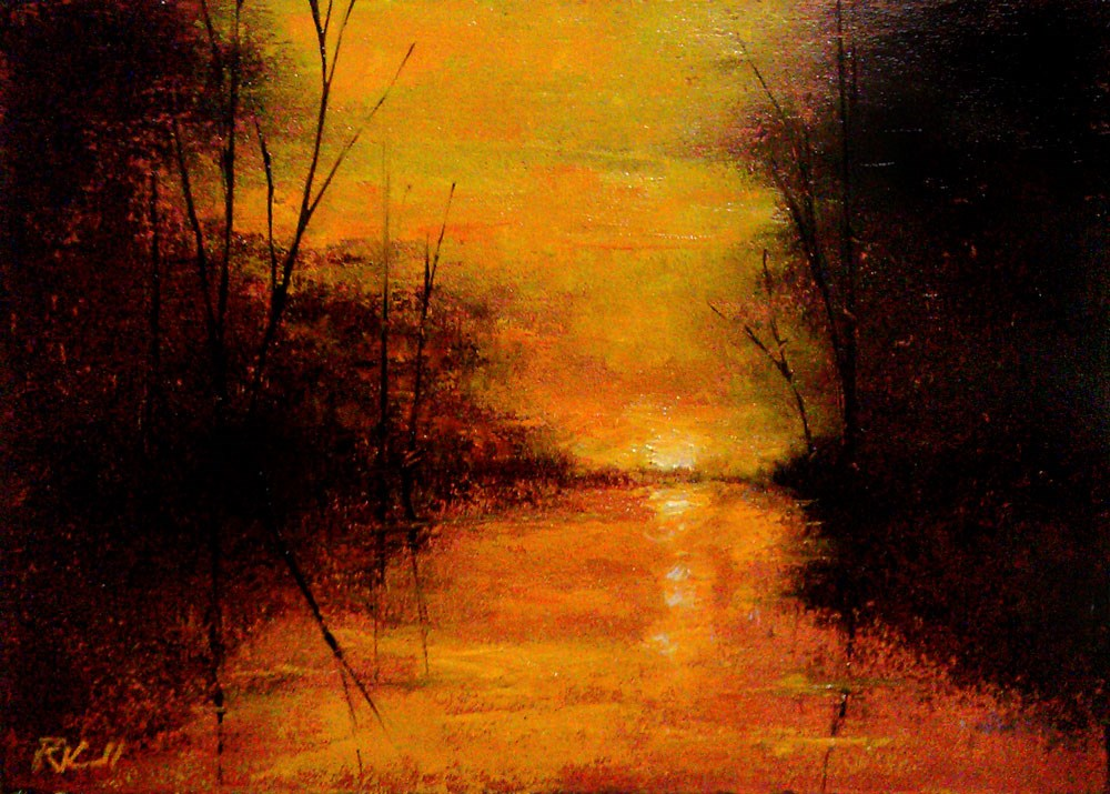 """Mirrored Sunset"" original fine art by Bob Kimball"