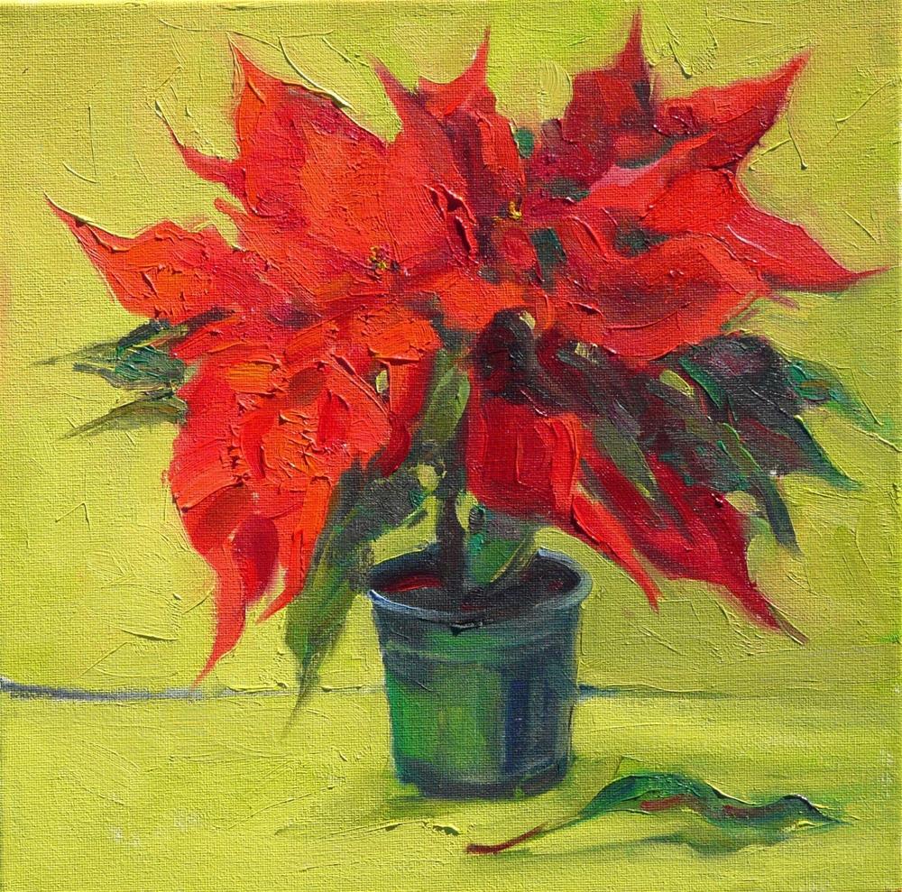 """Poinsettias,still life,oil on canvas,12x12,price$200"" original fine art by Joy Olney"