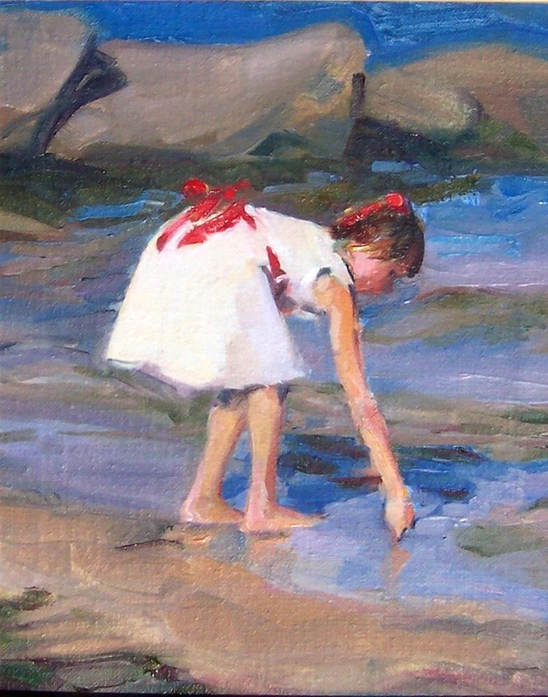 """Sunday Afternoon at the Lake,figure,oil on canvas,10x8,price$475"" original fine art by Joy Olney"