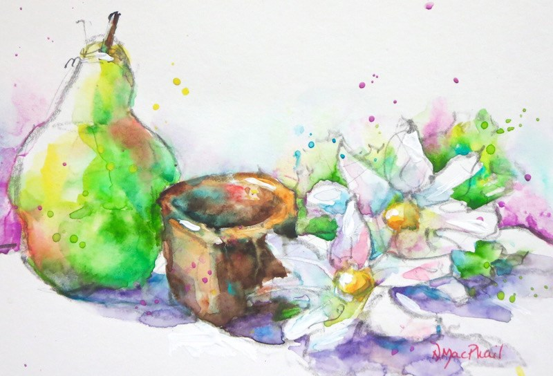 """a pear, a cup and a pair"" original fine art by Nora MacPhail"