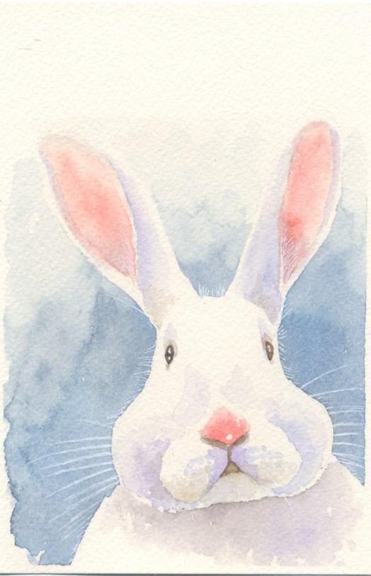 """""""Puzzling Bunny"""" original fine art by Hui (Hue) Li"""