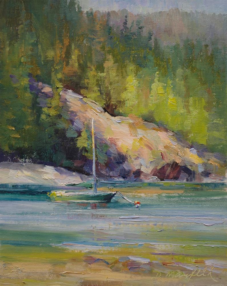 """Sunlit Rocks"" original fine art by Denise Maxwell"