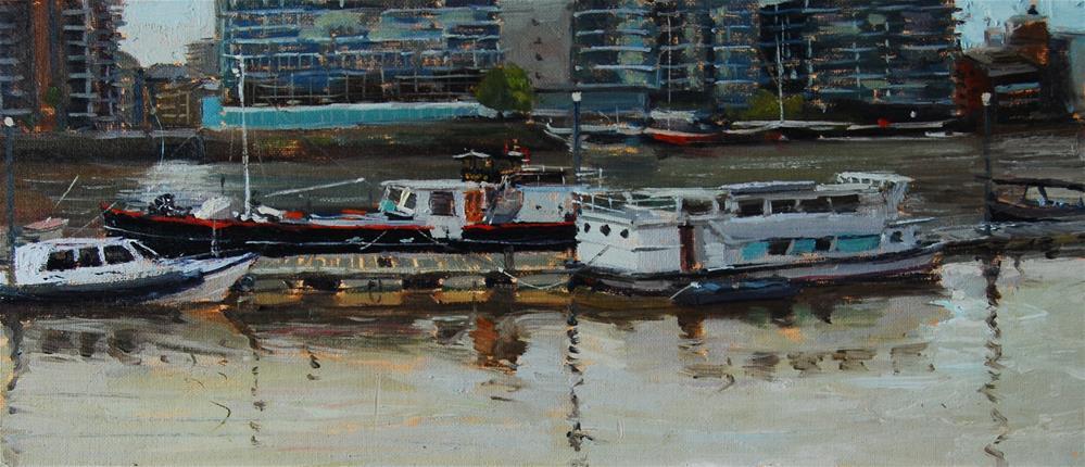 """Boats along Cadogan Pier, Chelsea"" original fine art by Adebanji Alade"