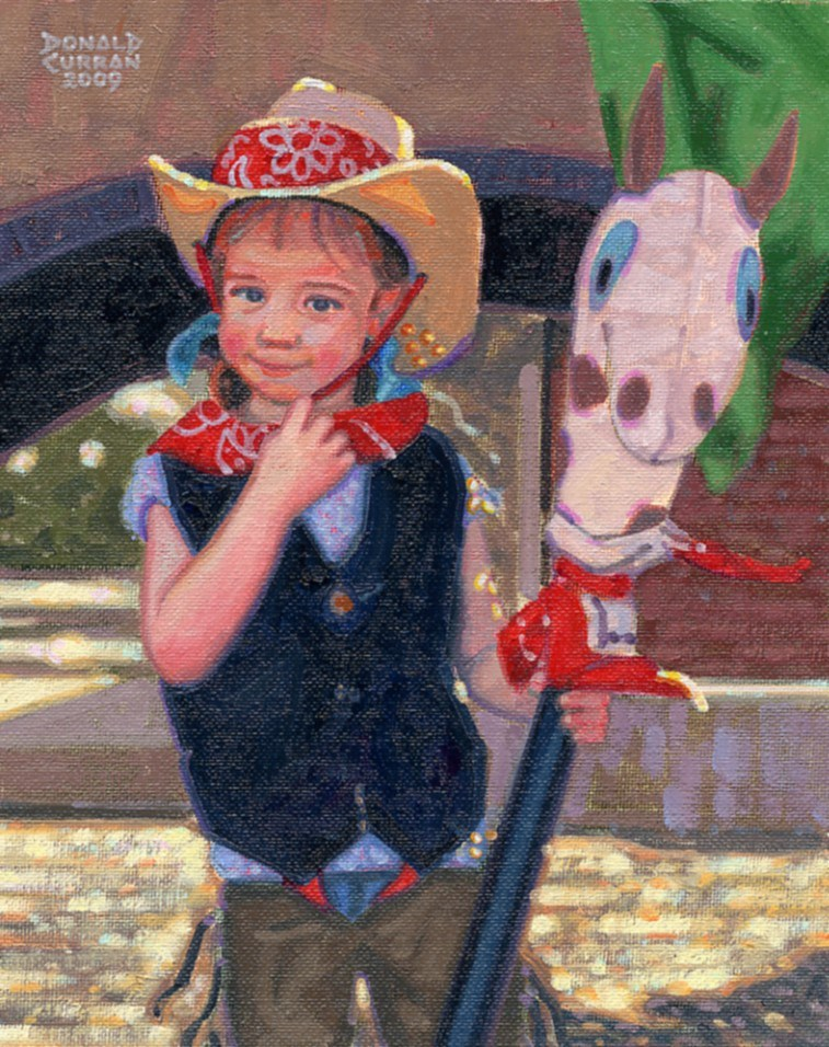 """Little Cowgirl"" original fine art by Donald Curran"