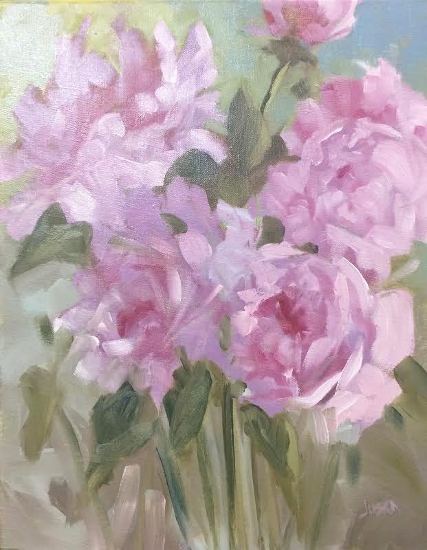 """""""Garden Peonies"""" original fine art by Elaine Juska Joseph"""